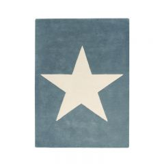 Wool Rug Big Star Vintage Blue 140 x 200 cm