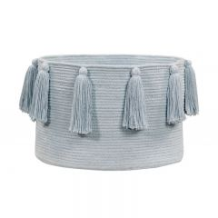 Basket Tassels Soft Blue 30 x 45 x 45 cm