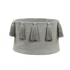 Basket Tassels Light Grey 30 x 45 x 45 cm
