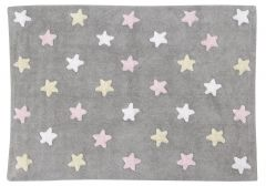 Tricolor Stars Grey Pink 120 x 160