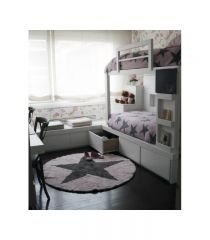 Reversible Star Pink - Dark Grey Ø 140 - WENDETEPPICH