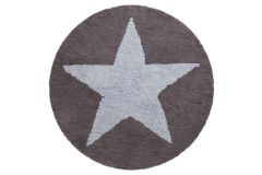 Reversible Star Blue - Dark Grey Ø 140 - WENDETEPPICH